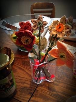 Handgjorda blommorna av Sofias mamma